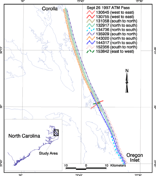 small resolution of map showing the extent of the individual passes between corolla north carolina and oregon inlet