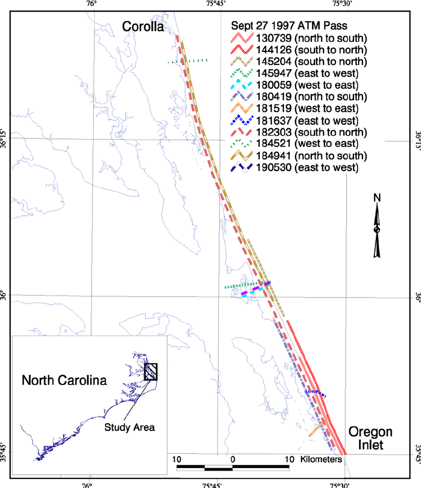 hight resolution of map showing the extent of the individual passes between corolla north carolina and oregon inlet
