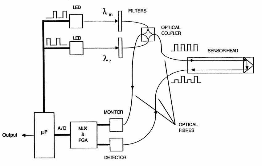 Schematic diagram of the fibre optic gas detector (After