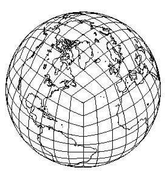 The cubed-sphere with continental outline for N e = 8