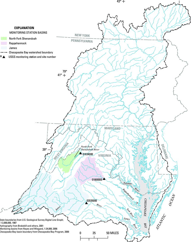 hight resolution of chesapeake bay watershed and the james river near cartersville virginia rappahannock river near fredericksburg