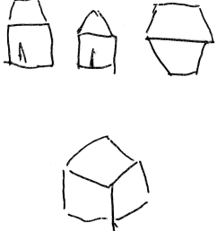 10 house from front from gable end and from above cube vertex pointing [ 850 x 942 Pixel ]