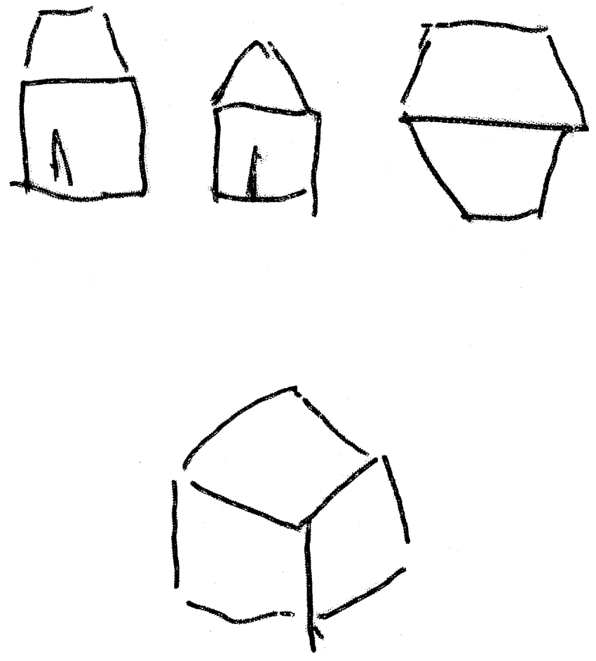 hight resolution of 10 house from front from gable end and from above cube vertex pointing