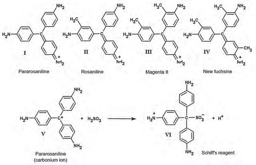 Figure 1. The components of basic fuchsine (I-IV) and the