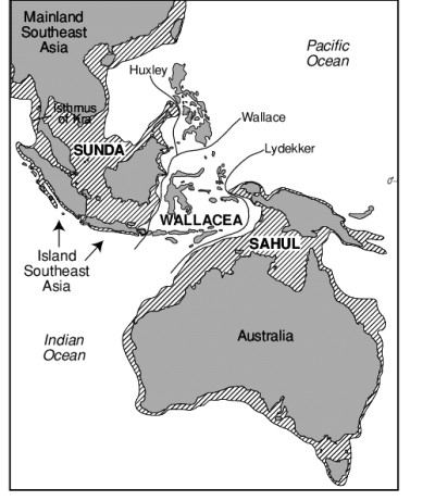 Map of Australasia showing extent of the Sunda and Sahul ...