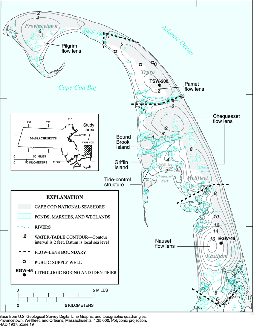 hight resolution of location of the four flow lenses of the lower cape cod aquifer system and model