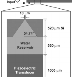 schematic of the ultrasonic atomizer along with representative dimensions the shape of the ejector cavity [ 850 x 1322 Pixel ]