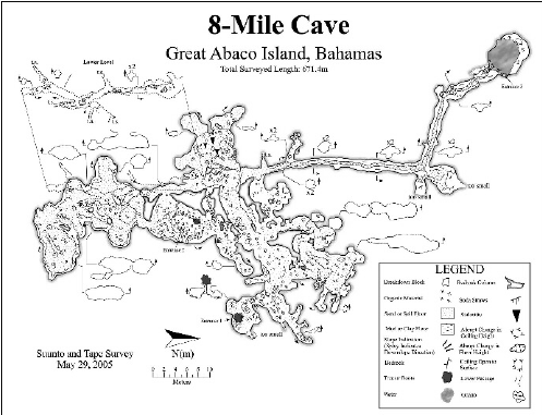 Map of Hole-in-the-Wall Cave, Great Abaco Island, Bahamas