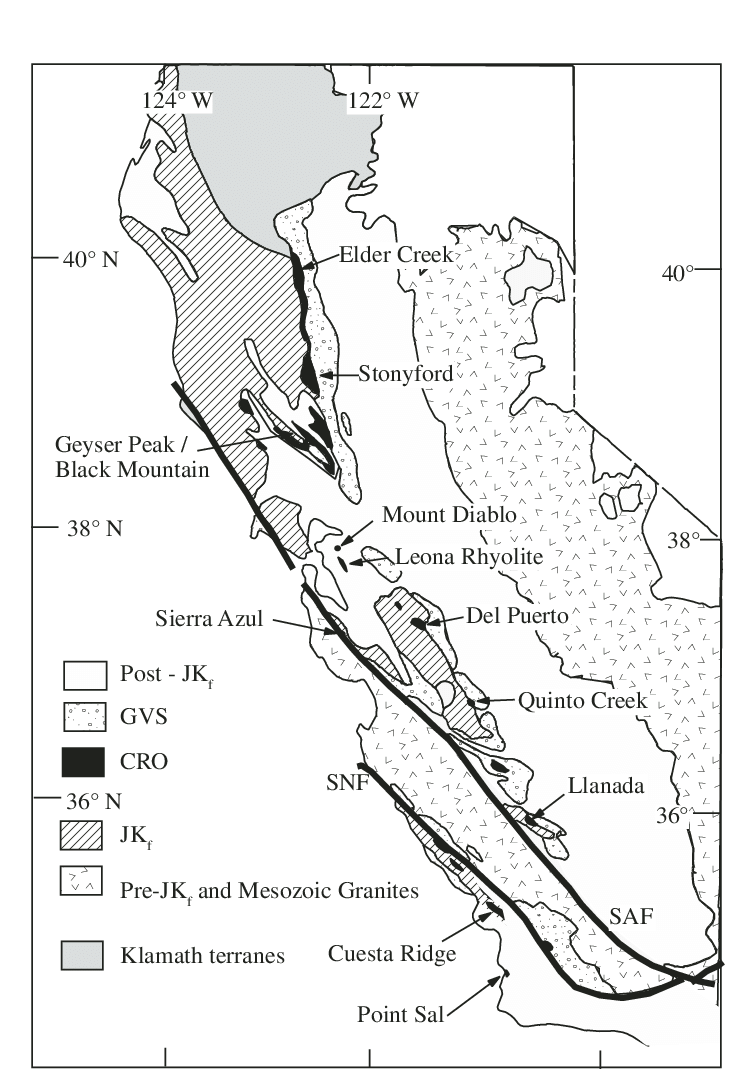 medium resolution of simplifi ed geologic map of central and northern california showing the location of the coast range