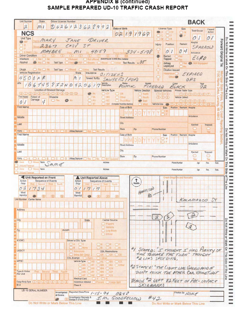 medium resolution of back page of the michigan department of transportation ud 10 crash report showing an accident