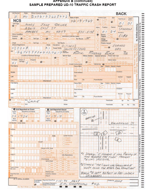 small resolution of back page of the michigan department of transportation ud 10 crash report showing an accident