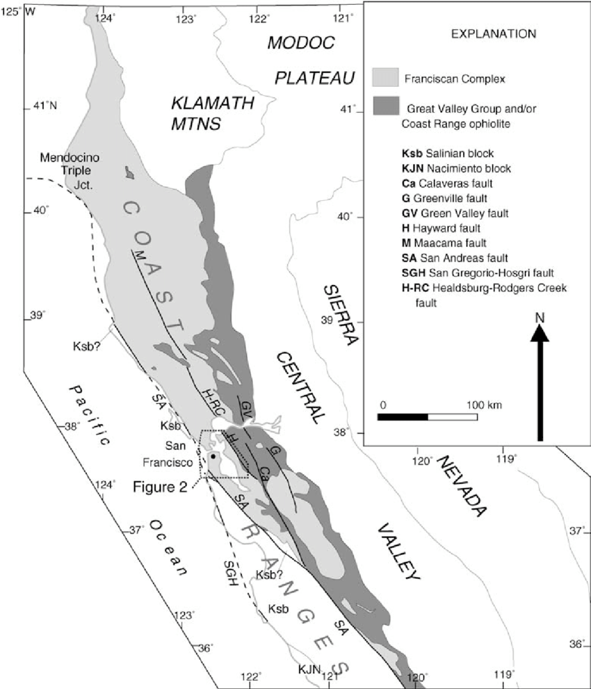 hight resolution of distribution of franciscan complex coast range ophiolite great valley group and other basement rocks