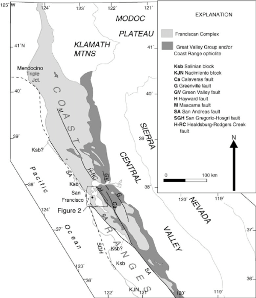small resolution of distribution of franciscan complex coast range ophiolite great valley group and other basement rocks