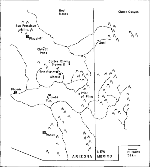 small resolution of map showing the location of grasshopper in the american southwest