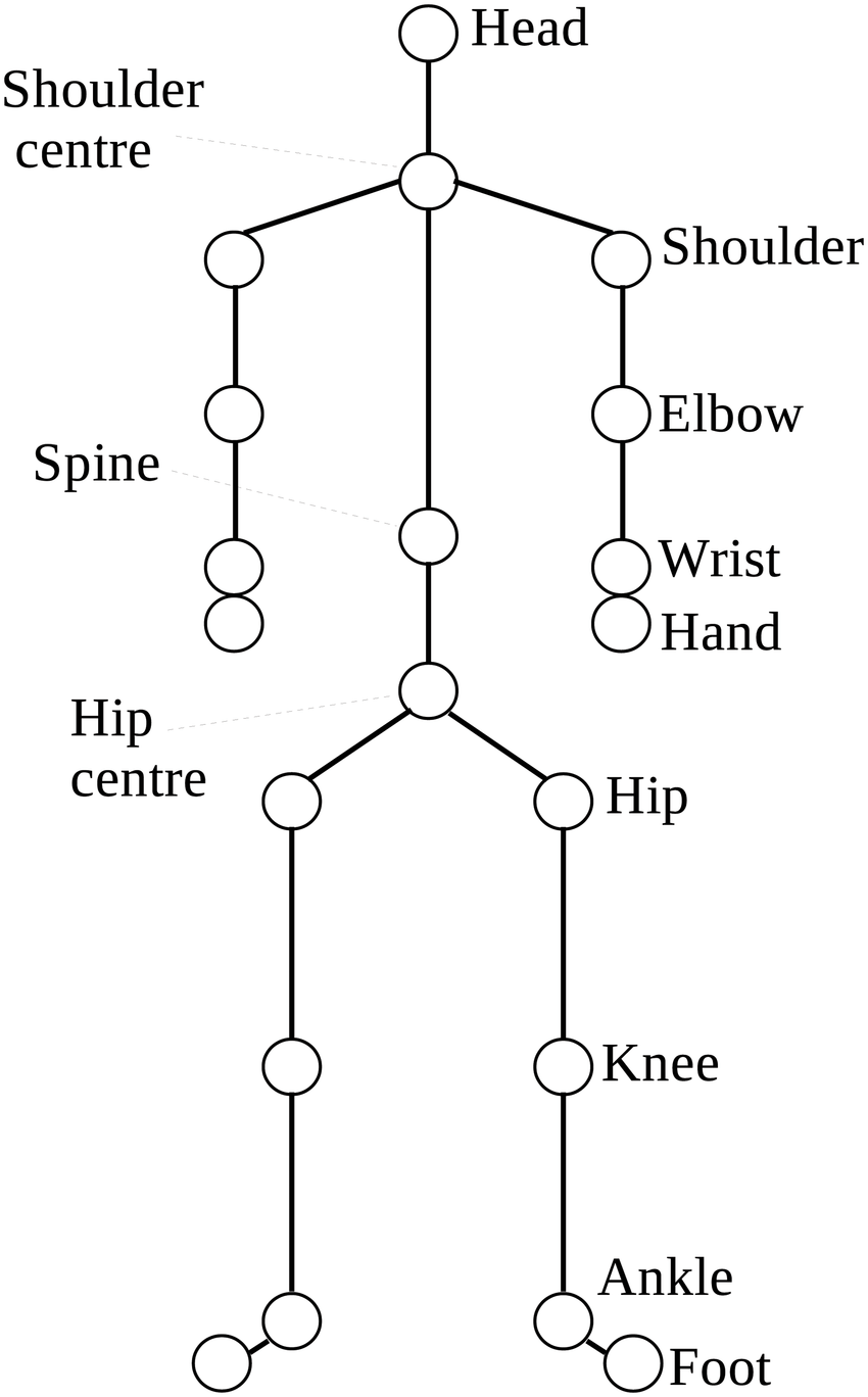 medium resolution of the 20 body joints of the human skeletal model