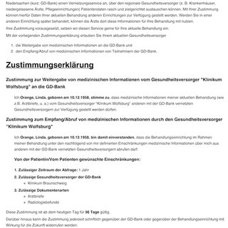 Paper based consent form created by the consent application [german ...
