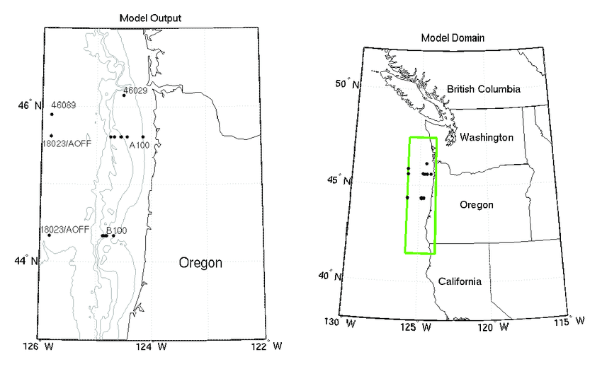 Left) Map showing the locations of the northern Oregon