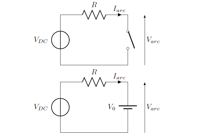 Simple R circuit with a switch. When the switch opens, the
