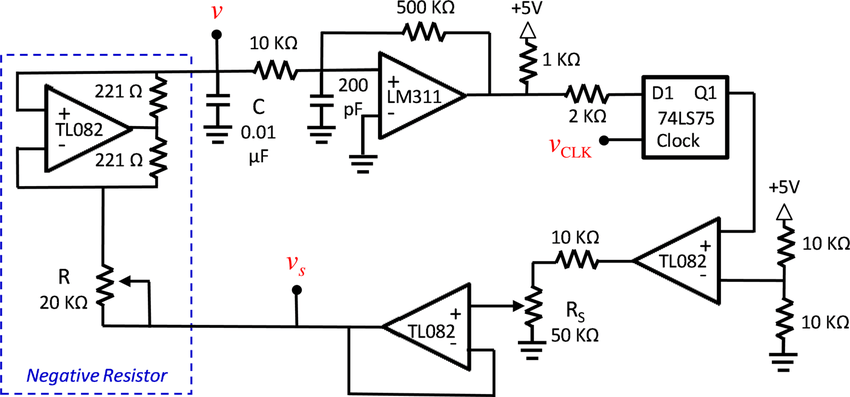 Electronic circuit schematic for the chaotic hybrid