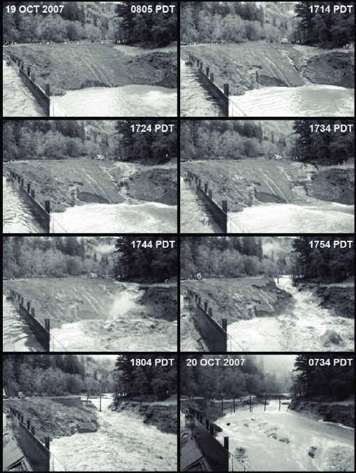 small resolution of breaching of the temporary earthen coffer dam on october 19