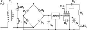 The schematic diagram of the power supply unit is shown