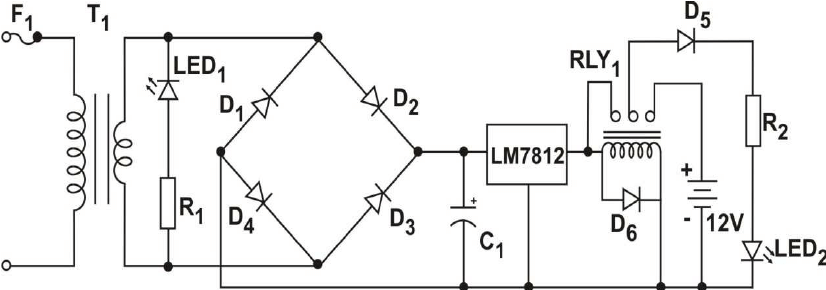 The schematic diagram of the power supply unit is shown