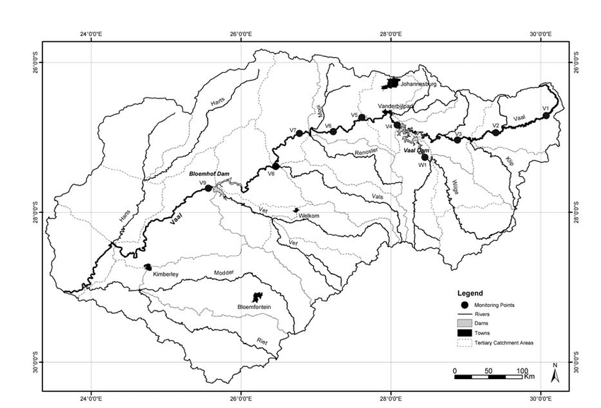 Map showing the location of the various sampling sites