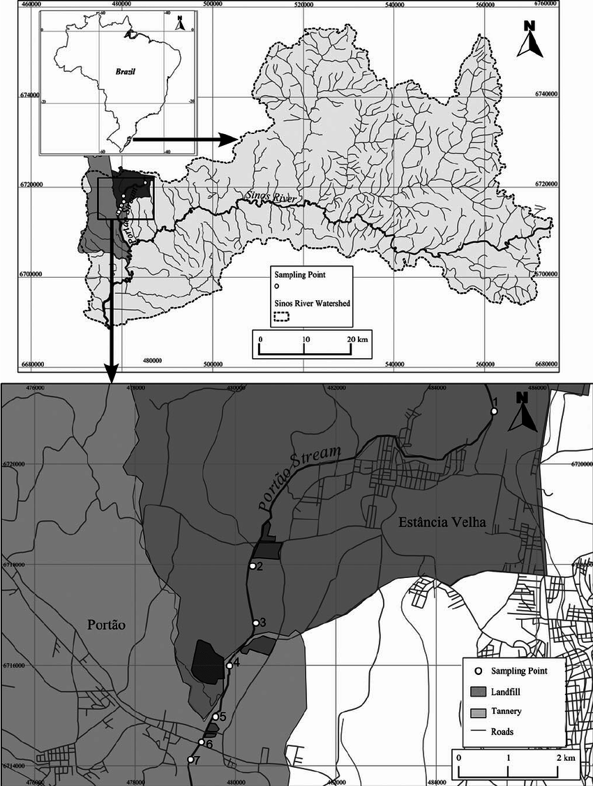 hight resolution of map of the study area location and spatial distribution of sampling points and major point pollution