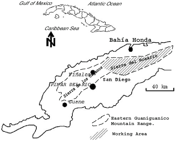 Eastern Guaniguanico mountain range and study area