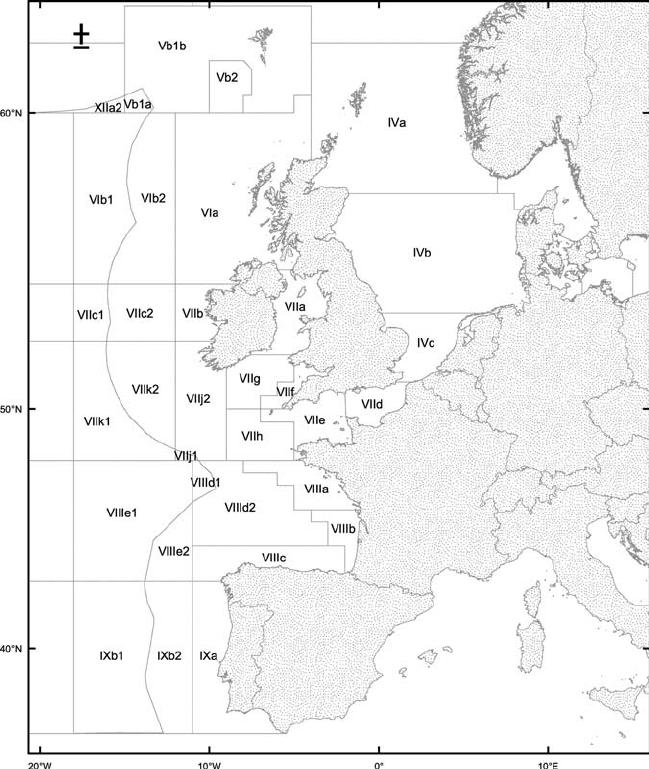 Map illustrating the ICES Areas: the Western European