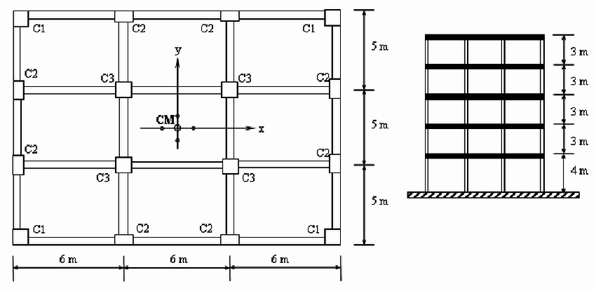 Floor plan and cross-section of reinforced concrete frames