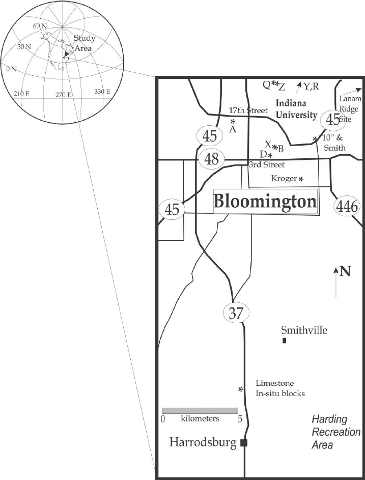 Map of sampling sites in this study. Letter sites ( A , B