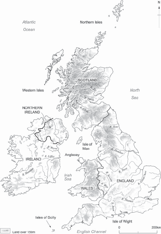 1 Map of Britain and Ireland, showing major topography