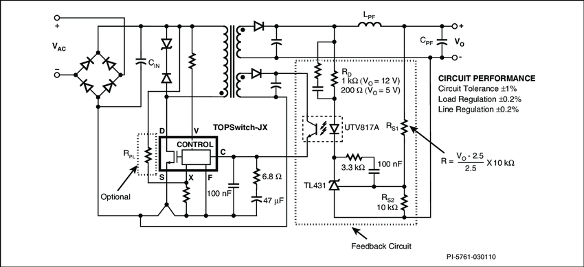 Typical TOPSwitch-JX Flyback Power Supply Using