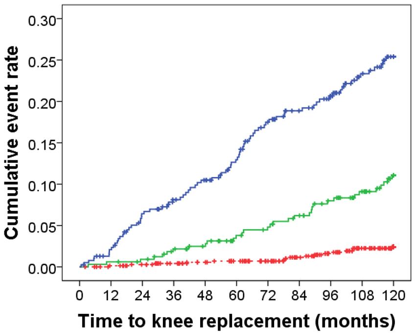 Kaplan Meier hazard plot for 10-year knee joint
