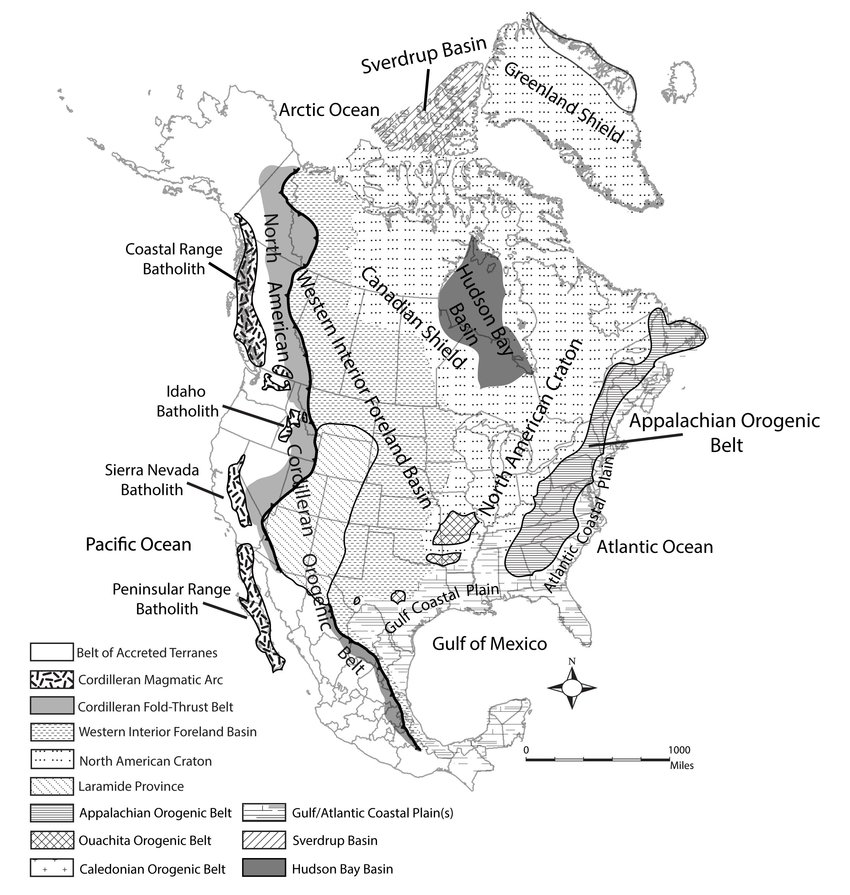 Tectonic map of North America showing key geological and