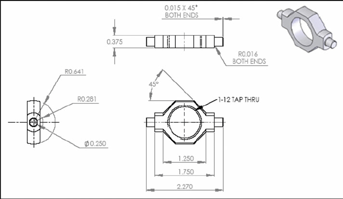 Detailed component drawing of the shock trunnion collar