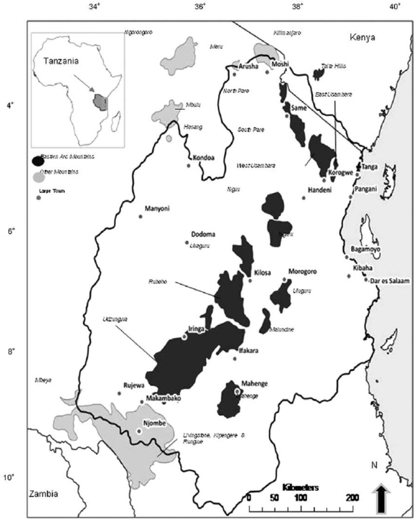 Eastern Tanzania showing the Eastern Arc Mountain chain