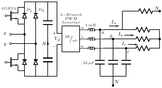 The proposed topology to obtain a three-phase four-wire