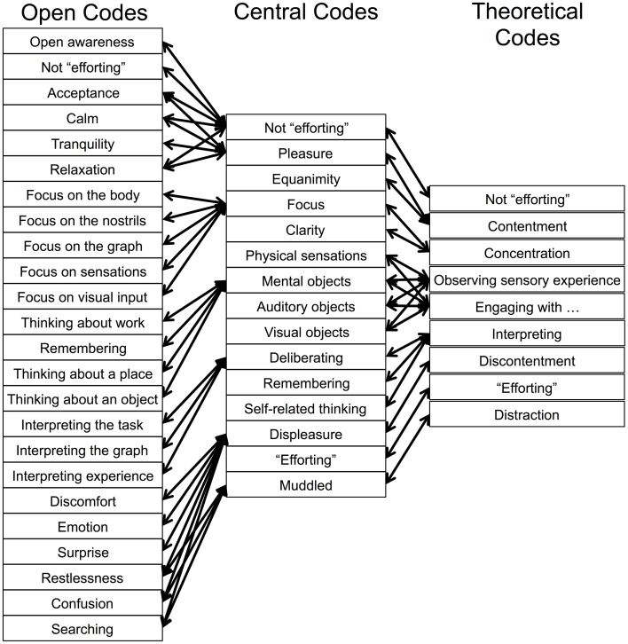 Representation of the open codes, central codes, and