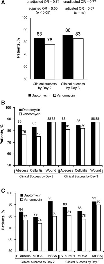 Proportion of patients achieving clinical success by day 2