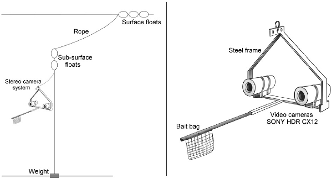 Deployment method and frame details of a pelagic stereo
