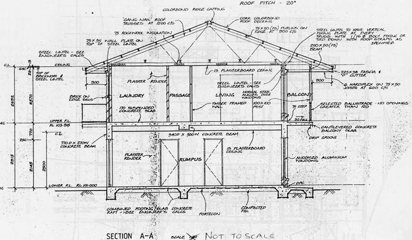 1-Architectural cross-section of the two-storey house used