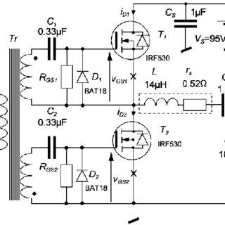 Circuit diagram of the analyzed 95W/1MHz Class-D resonant