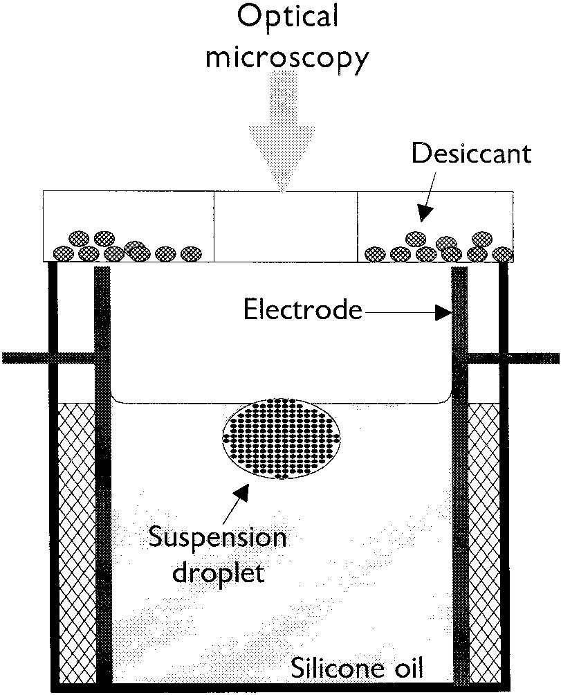 hight resolution of schematic of the colloidal crystallization cell with a suspension droplet as template
