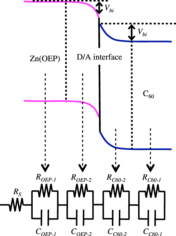 Equivalent circuit used for fitting the present impedance