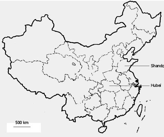Map showing the geographic distribution of Shandong and