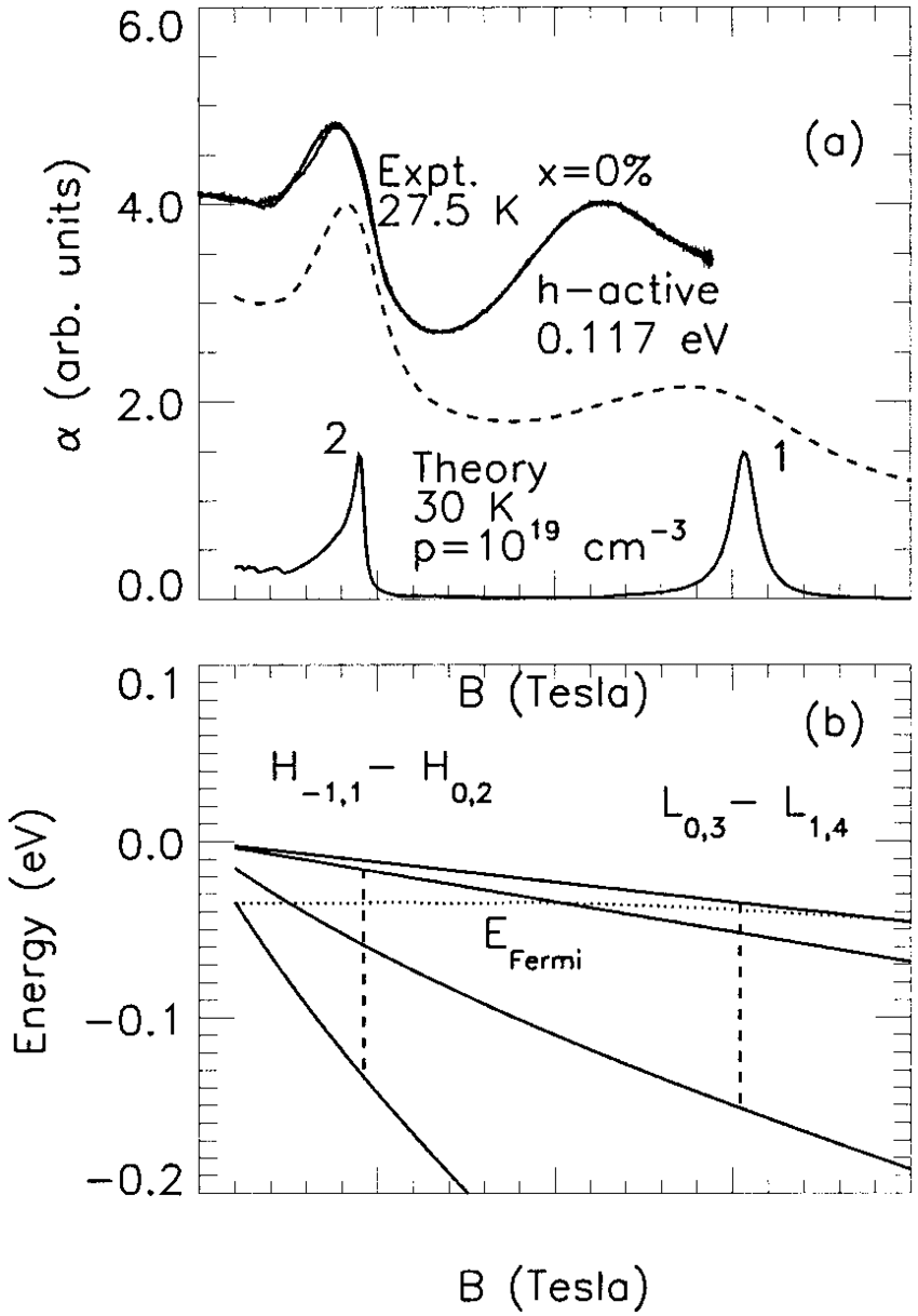 (a) Experimental and theoretical cyclotron absorption as a