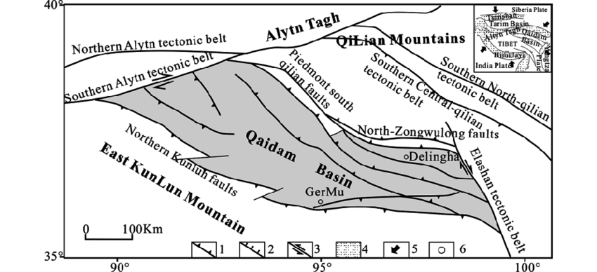 Simplified geology map in the Qaidam Basin. 1. Thrust