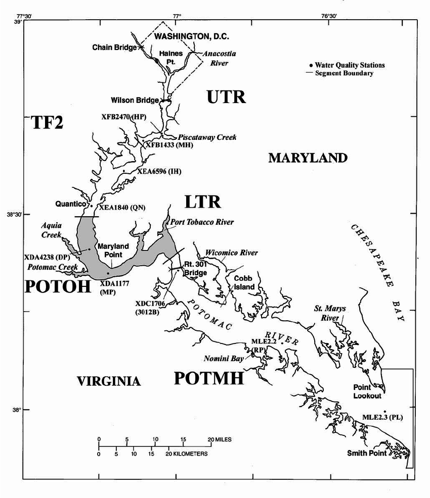 hight resolution of map of the tidal potomac river and estuary from washington d c to point lookout showing
